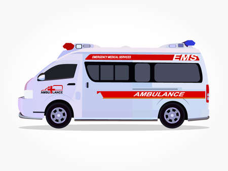 detailed side of a flat ambulance vehicle cartoon with shadow effect