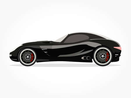accelerated: detailed side of a flat black car cartoon with shadow effect