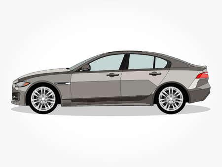 bella illustrazione vettoriale di auto con dettagli ed effetto ombra Vettoriali