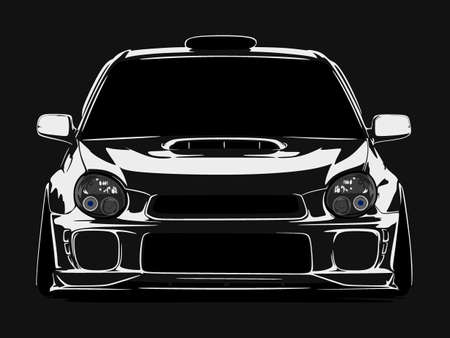 cool car vector illlustration silhouette isolated in flat black background