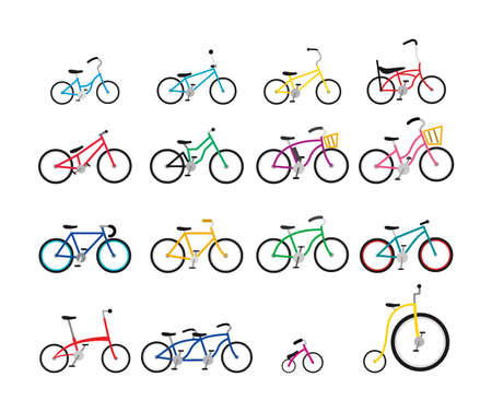 Set of colorful bicycles with various size and form 일러스트