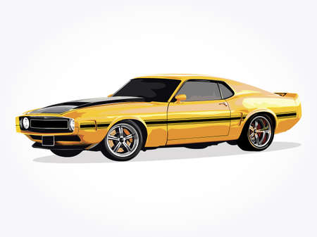 Realistic car vector illustration with details and shadow effect