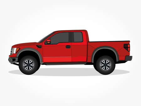 Realistic truck vector illustration with details and shadow effect