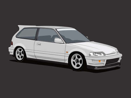 white hatchback car with details isolated in dark grey background Illustration
