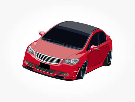 red sedan car vector illustration with body details