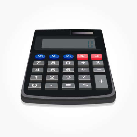 Realistic handy calculator machine vector illustration wtih buttons details and shadow effect