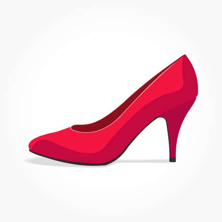 red women shoe vector illustration with high heel and shadow effect