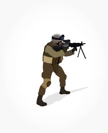 Army man cartoon holding a sniper riffle illustration with shadow effect 일러스트