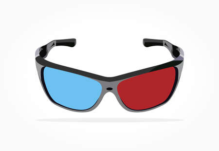 Realistic floating red blue 3d eye glasses with black frame and shadow effect isolated in white background