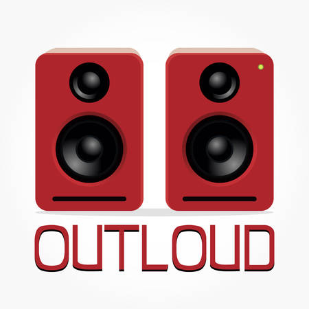 twin red desktop speaker illustration with shadow effect