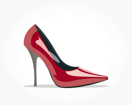 Realistic red glossy women shoe vector illustration with high heel and shadow effect 일러스트