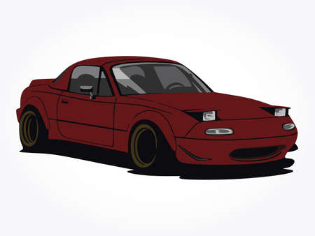 detailed body and rims of a flat red car cartoon vector illustration with shadow effect in wide screen ratio 일러스트