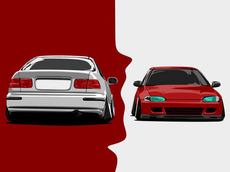 flat red white cars cartoon vector illustration art in wide screen ratio