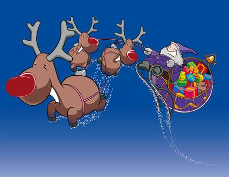 kris: Santa Claus with sledge Illustration