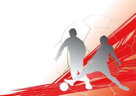 jugador de futbol soccer: jugador de f�tbol frente a una din�mica de fondo Vectores