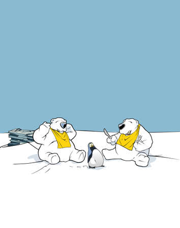 Two bears and a penguin