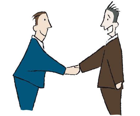 felicitate: handshake between two businessmen Illustration