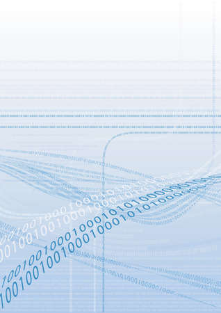 Binary code in front of a light blue background