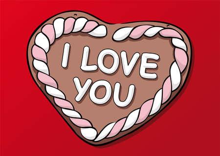 Lebkuchen Herz mit I Love Sie Standard-Bild - 5961786