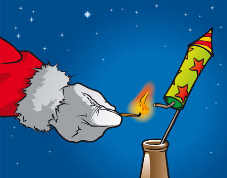 inflamed: Santa Claus inflamed a firework rocket Illustration