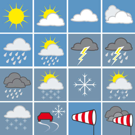 granizo: Mapa meteorol�gico con s�mbolos de clima