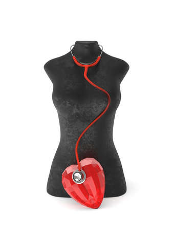 Healthy looking sculpture woman body in black with ruby heart. Fit and Healthy.