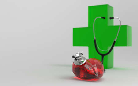 Check the healthy heart with green cross in the background.