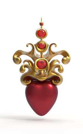 Lovely happy Valentines Day hearts with ruby gold crown. will you be my valentine? Reklamní fotografie