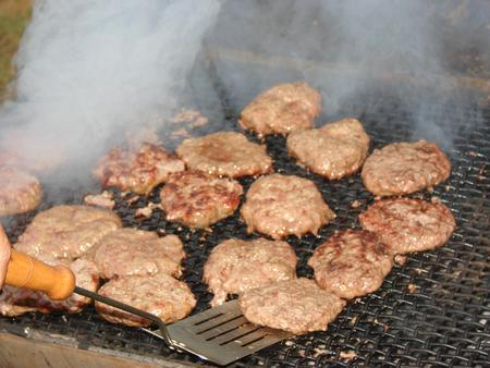 Grilling Hamburgers On a Nice Summer Day