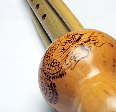 bagpipes: Khulusy. Chinese national musical instrument.