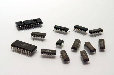 radio unit: Old electronic chips Stock Photo