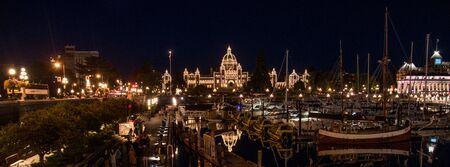 Parliament Building at night in Victoria, BC, Canada