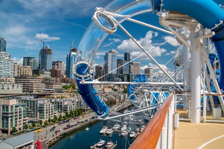 Seattle through the water slide on the Norwegian Joy