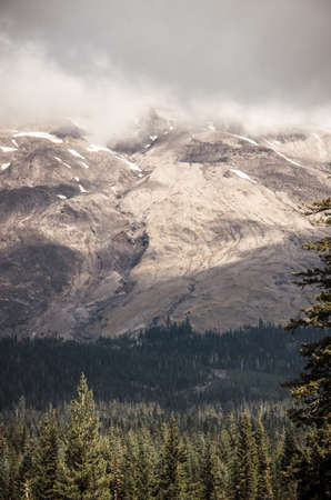 encroaching: A profile of Mount Saint Helens with its peak wrapped in clouds and the encroaching forest line. Stock Photo