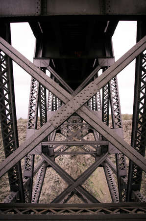 trestle: Closeup shot of the underside of a train trestle spanning a gorge in Oregon. Stock Photo