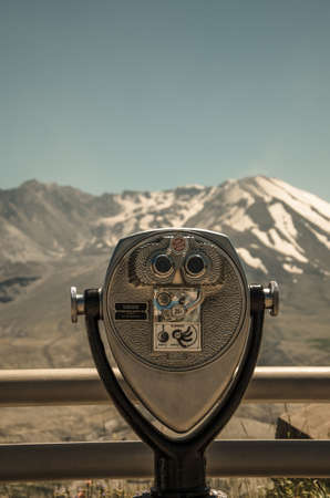 helens: A closeup of a viewfinder overlooking Mt St Helens