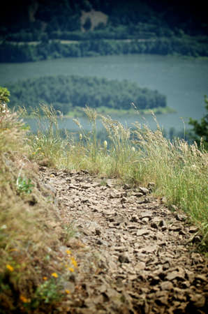 ledge: A trail on a ledge overlooking the Columbia Gorge Stock Photo