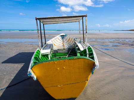 wooden boat: Colorful wooden boat on the beach