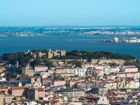 jorge: View of the city of Lisbon. Sao Jorge Castle and Alfama and Tagus River Stock Photo