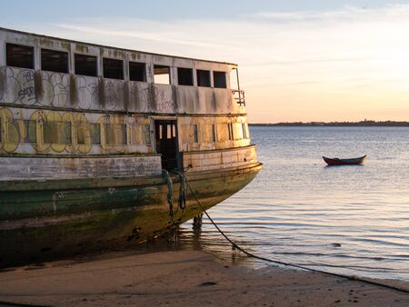ferry boat: Old ferry boat at the beach