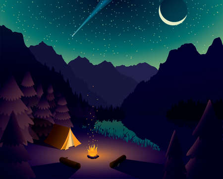 Vector Mountain Campsite Near Lake with Starry Night Vettoriali