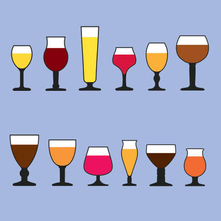 Belgian Style Beer Glass Vector Set