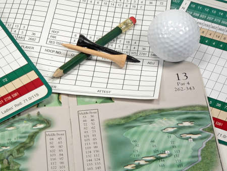 Golf Scorecard and Course Guide Stock Photo