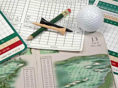 Golf Scorecard and Course Guide 版權商用圖片