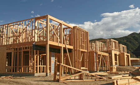 joists: The construction site of new homes being built for a new community
