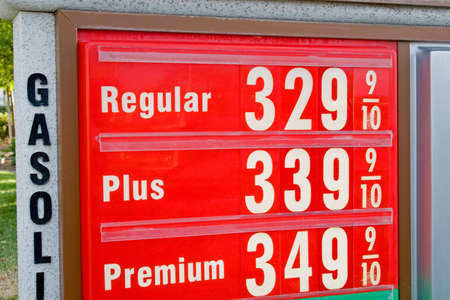 benzine: The sign of the time - high gasoline prices everywhere Stock Photo