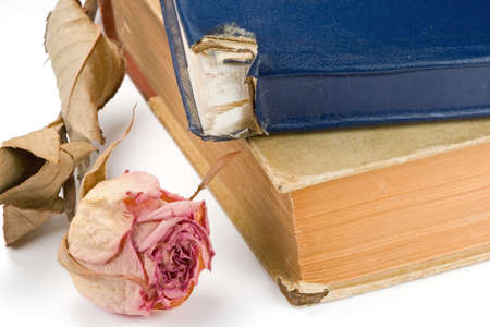 hymn: a pair of weathered old antique hymn books with a flower