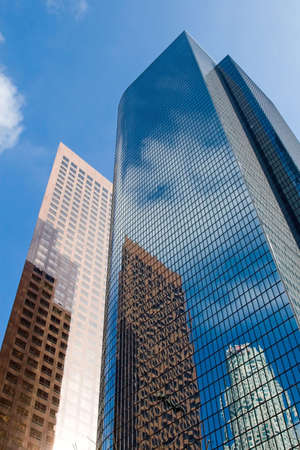 The tall gleaming skyscrapers of a citys downtown business district Stock Photo