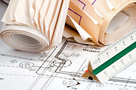 Design drawings for the construction of a planned building Stock Photo