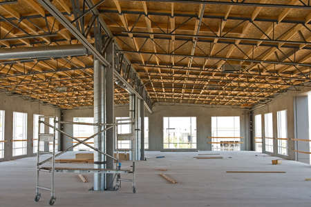 rafter: A new building under construction and its architectural details